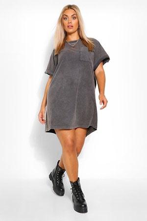 Plus Acid Wash T-Shirt Dress