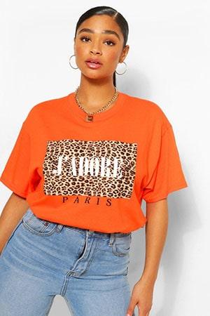 Plus Leopard Adore Slogan T-Shirt