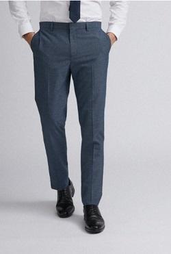 Blue Jaspe Check Slim Fit Suit Trousers