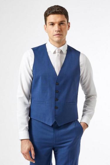 Blue Texture Slub Slim Fit Waistcoat