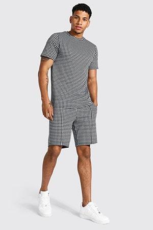 Black Jacquard Dogtooth T-shirt Short Set
