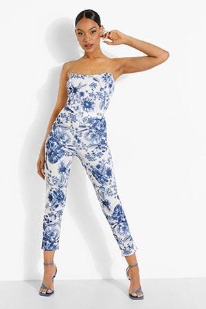 Floral Print Corset & Slim Fit Trousers