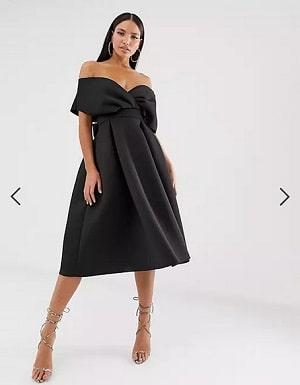 Tall fallen shoulder midi prom dress with tie detail in black